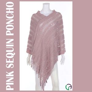 Sweaters - Loose Knit Pink Sequin Poncho